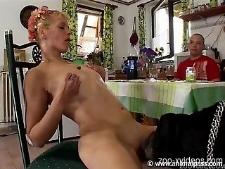 Naked females sharing dog cock and human cock