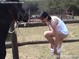 Brunette chick throats giant horse dick in outdoor