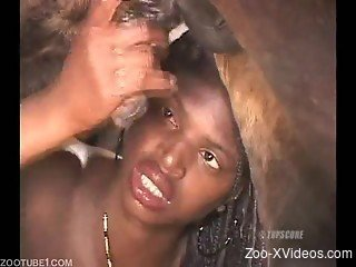 Ebony teen tries huge horse cock in her tiny holes
