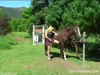 Blonde whore uses giant horse cock on her pussy