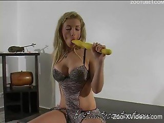 Perfect dog bestiality with a dick-sucking blondie