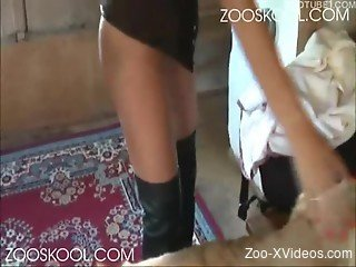 Amateur pet sex action with a hairy white dog
