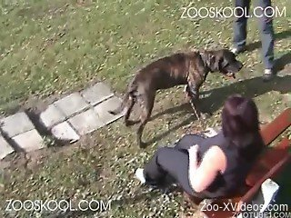 Big-boobed zoofil wife plays with a nasty doggy