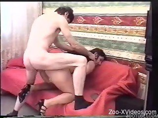 Amazing redhead woman gets drilled by her doggy