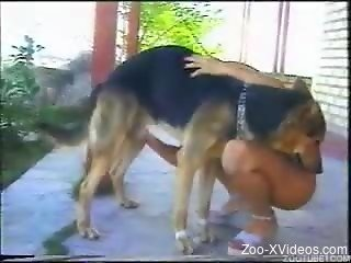 Two brunettes are playing with dog in bestiality style